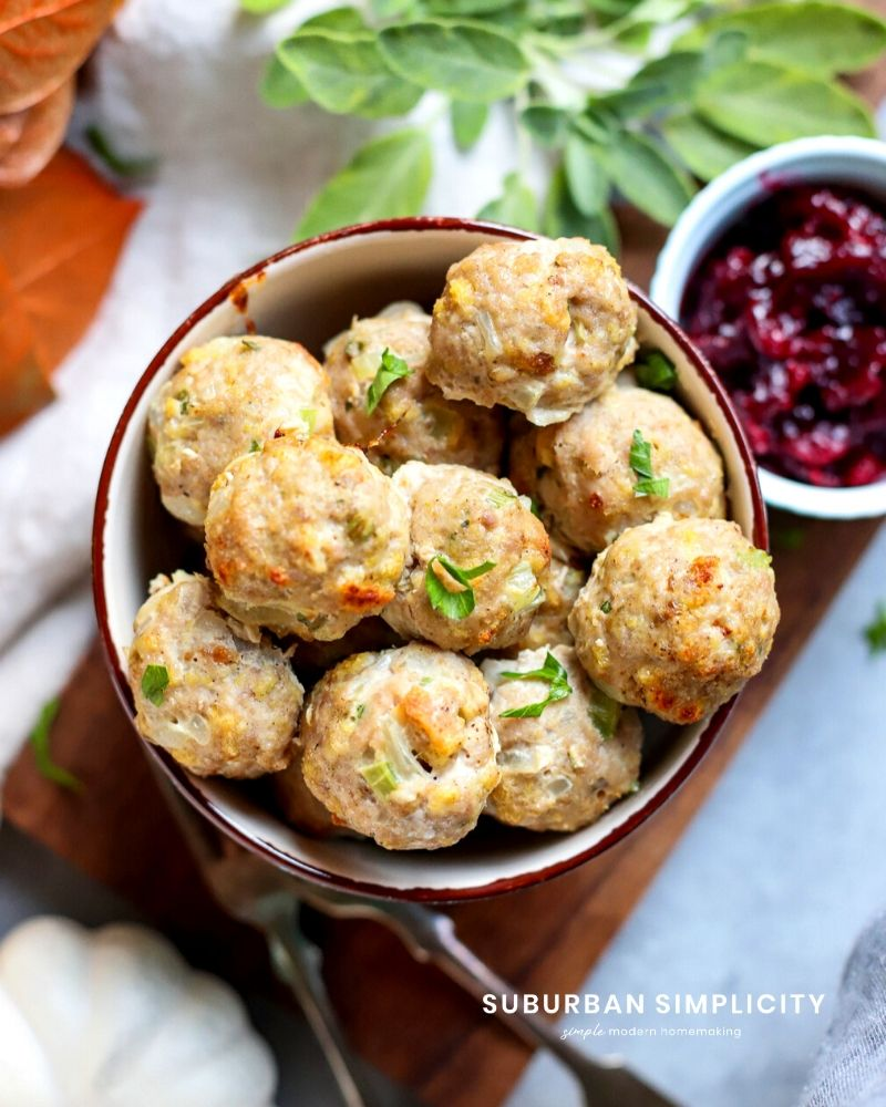 Cooked Turkey meatballs in a bowl