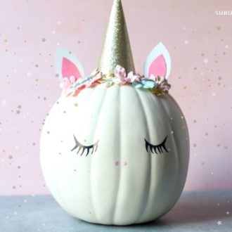 Easy step-by-step tutorial for how to make a Unicorn Pumpkin. This DIY idea is so adorable you'll want to keep it up year-round!