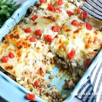 Make this easy to assemble Beef Enchilada Casserole as the perfect flavor-packed, creamy cheese-laden comfort food casserole everyone loves!