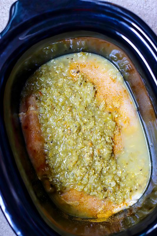 Crock pot with salsa verde inside