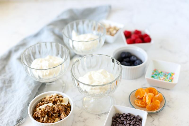 Ingredients to make a breakfast Sundae