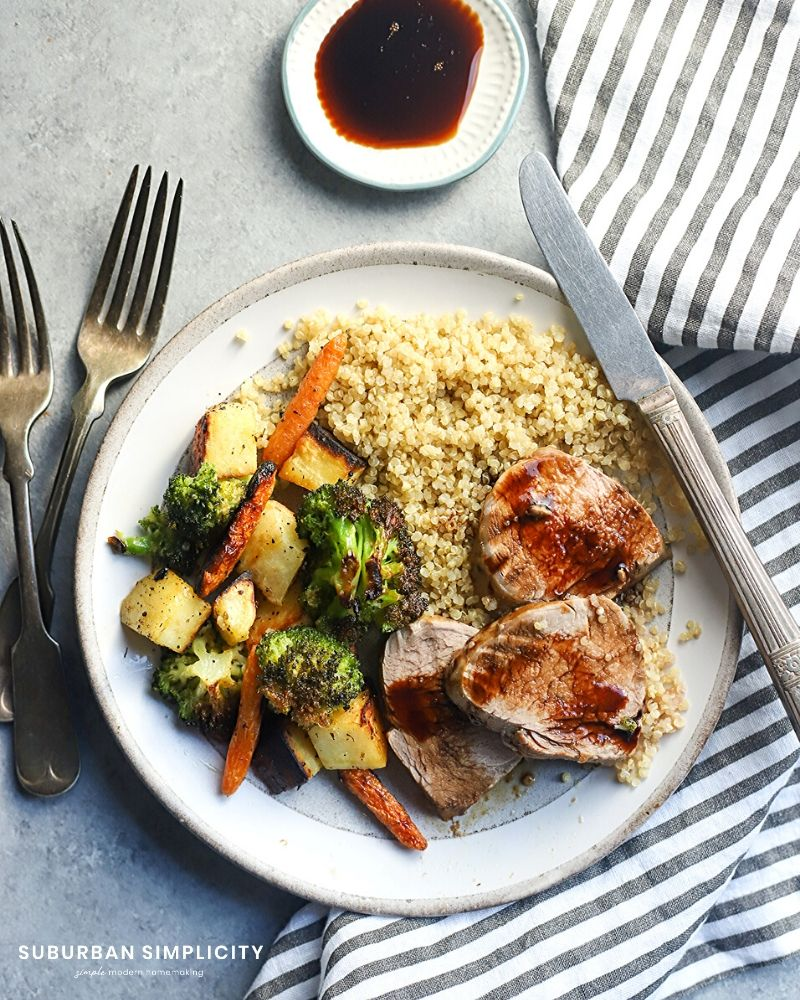 Italian Baked Pork Tenderloin plated with veggies