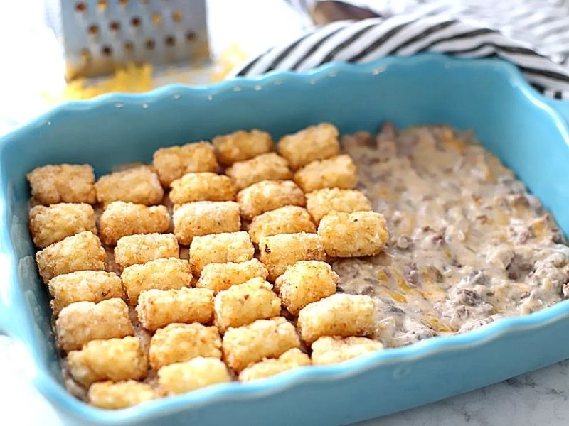 Tater tots in a casserole dish