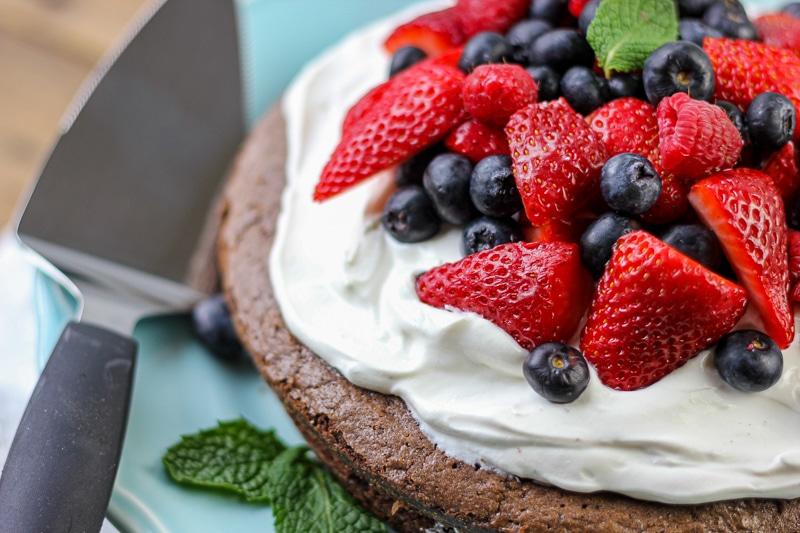 Fresh fruit on a brownie cake