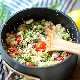 Mediterranean Quinoa salad in a pot