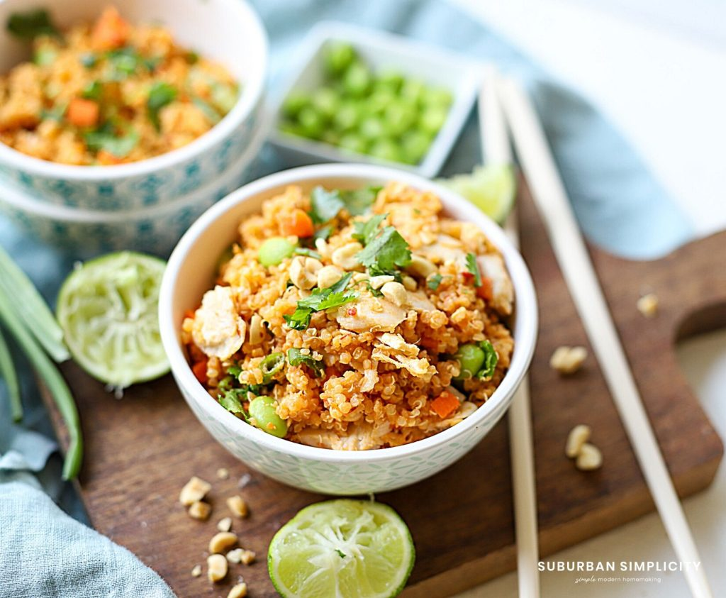 Thai Chicken Quinoa Bowls with Peanut Sauce is healthy and easy to make in 20 minutes! This one-pot recipe is quick and flavorful! It's gluten-free and wonderful for meal prepping.