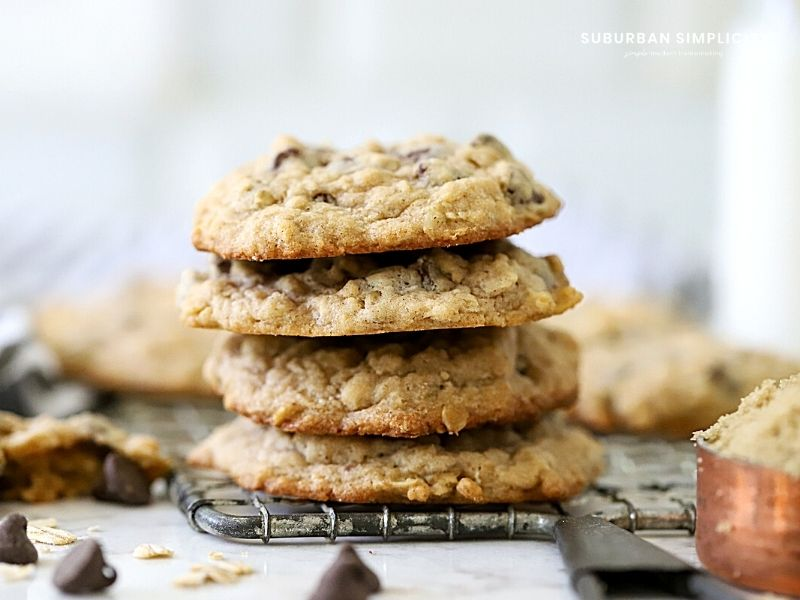 The best oatmeal chocolate chip cookies in a stack