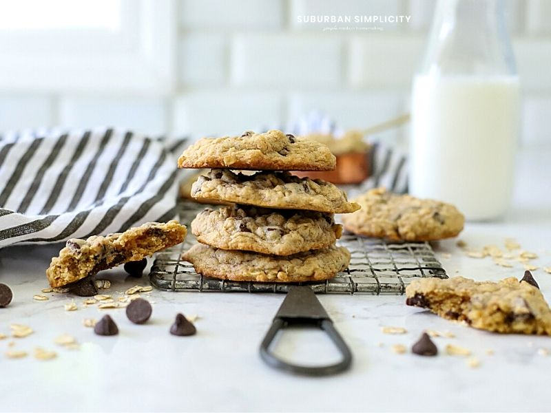 Simply The Best Oatmeal Chocolate Chip Cookies! This classic cookie recipe is packed with oats, brown sugar, and chocolate. They are soft and chewy in the middle and have a secret ingredient that makes them stand apart from the rest!