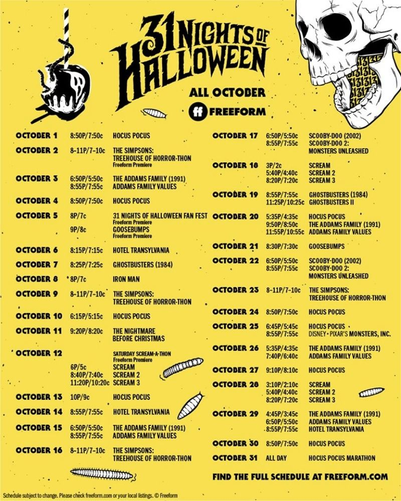 Check out all the details for Freeform's 31 Nights of Halloween Schedule 2020! Here's what Halloween movies to watch when! Free Printable Schedule!
