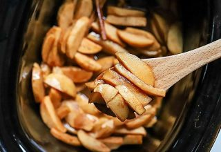 Crockpot Apples with Cinnamon takes minutes to prep and tastes fantastic. These slow-cooked, tender and flavorful apples are great for breakfast on oatmeal and pancakes or served with ice cream for dessert! Baked apples have never been so easy.