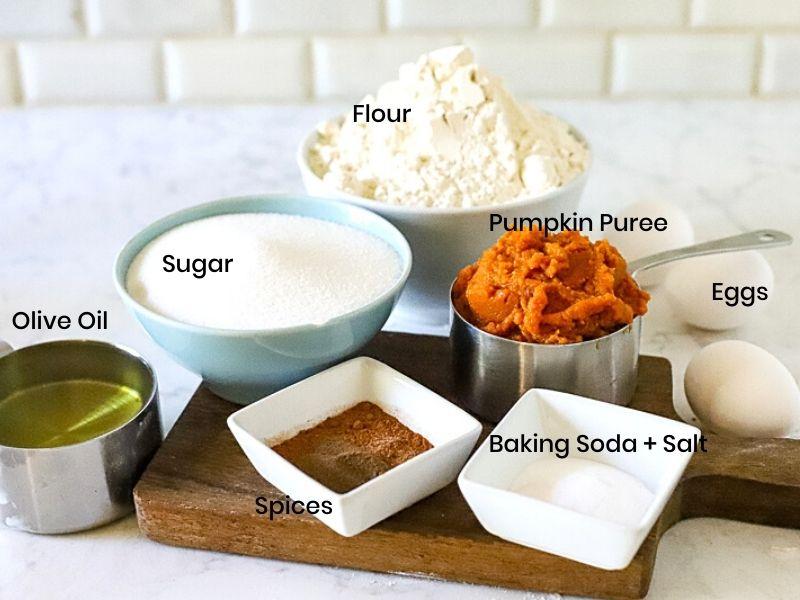 Ingredients for moist pumpkin bread