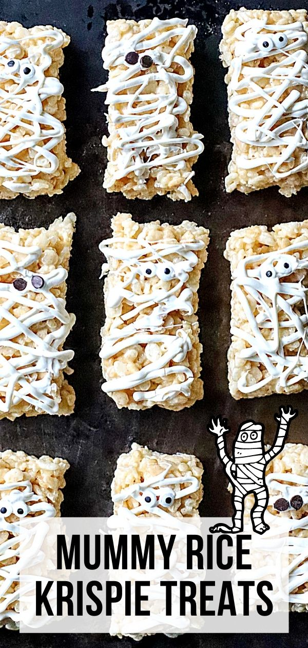 This Halloween Rice Krispie Treat idea is a must-make! It's easy and fun for kids of all ages to put together! No-Bake, Mummy Rice Krispies Treats are perfect for your Halloween bash or class parties.