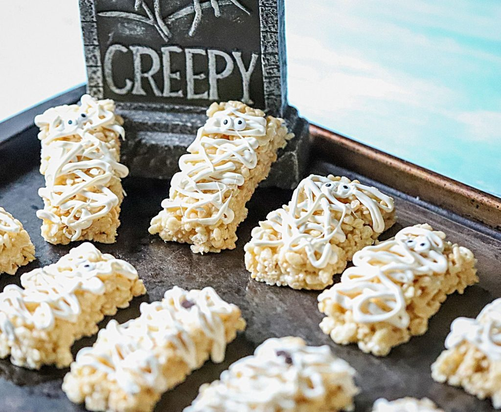Mummy rice Krispies Treats on a try