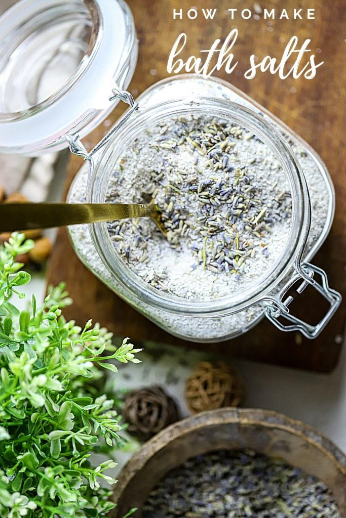 Experience the benefits of Bath Salts. This DIY recipe for relaxing Lavender Bath Salts is easy to make at home for yourself or give as a beautiful, pampering gift idea.