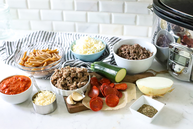 Ingredients for crockpot pizza