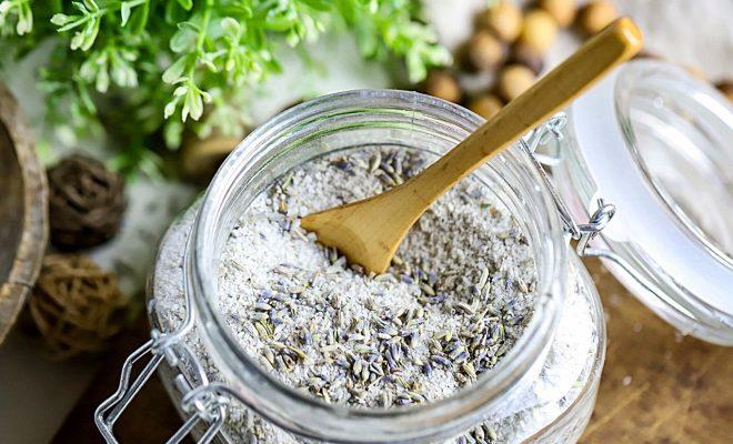 lavender bath salts in a glass jar