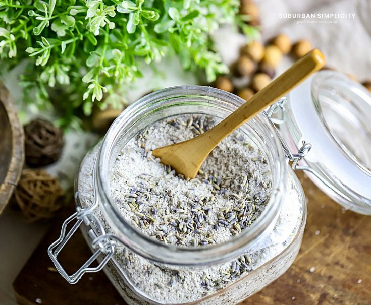 lavender bath salts in a glass jar