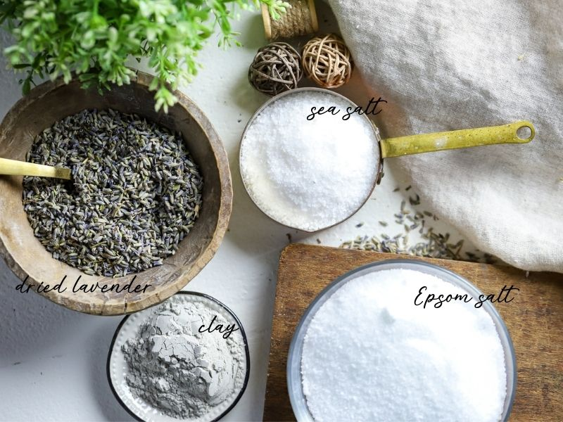 ingredients for bath salts with lavender