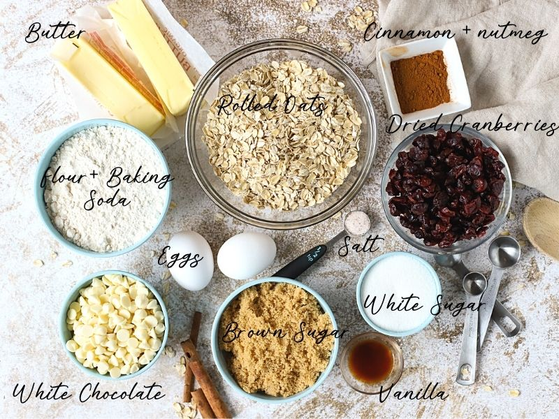 Ingredients for oatmeal cranberry cookies