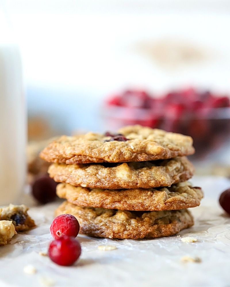 cookies with cranberries in front of them