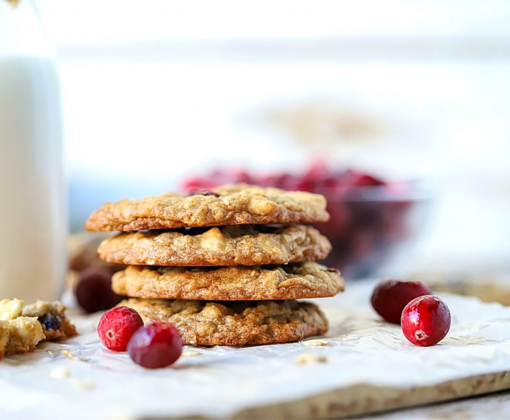 cranberry cookies in a stack