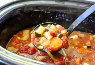 Crockpot Vegetable soup in a slow cooker