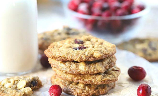 Stacked White chocolate oatmeal Cookies