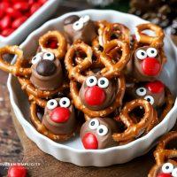 Rolo Pretzel Reindeer in a bowl