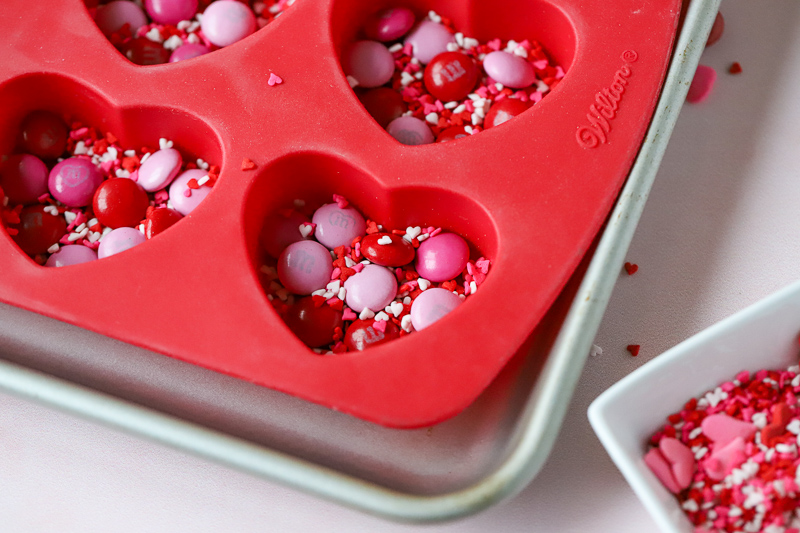 candy in a heart-shaped mold