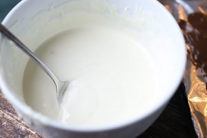 white chocolate melted in a bowl