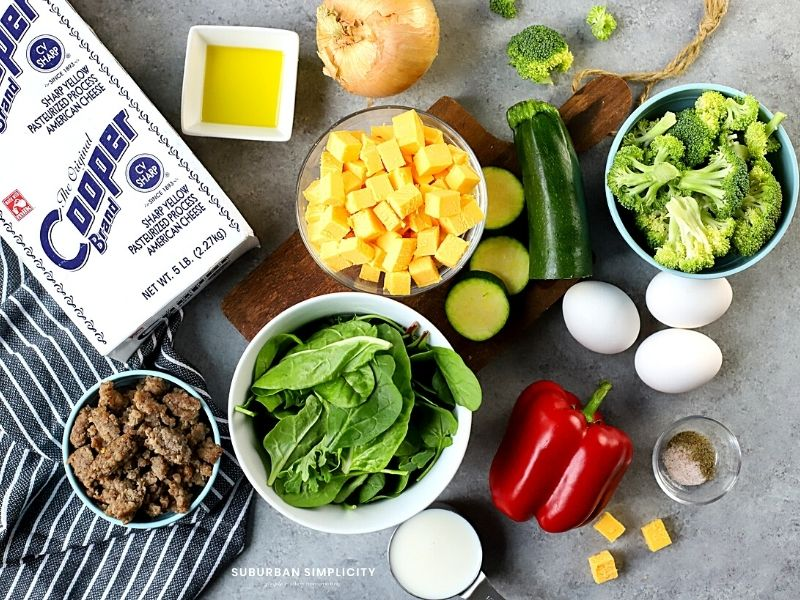 ingredients for a veggie and sausage frittata
