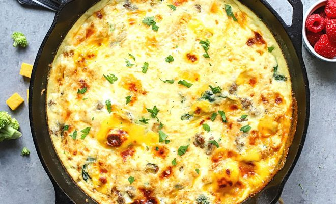 Sausage Frittata in a cast iron pan.