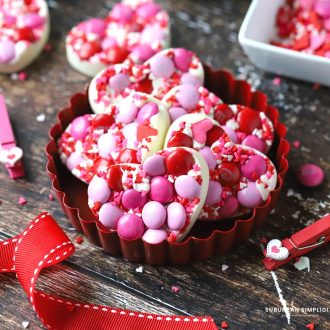 Valentine's Day treats in a red dish
