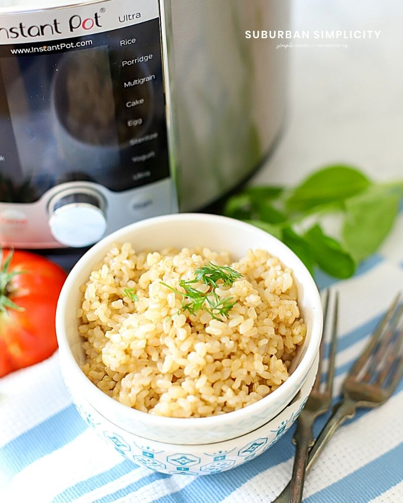 Rice in a bowl next to an Instant Pot