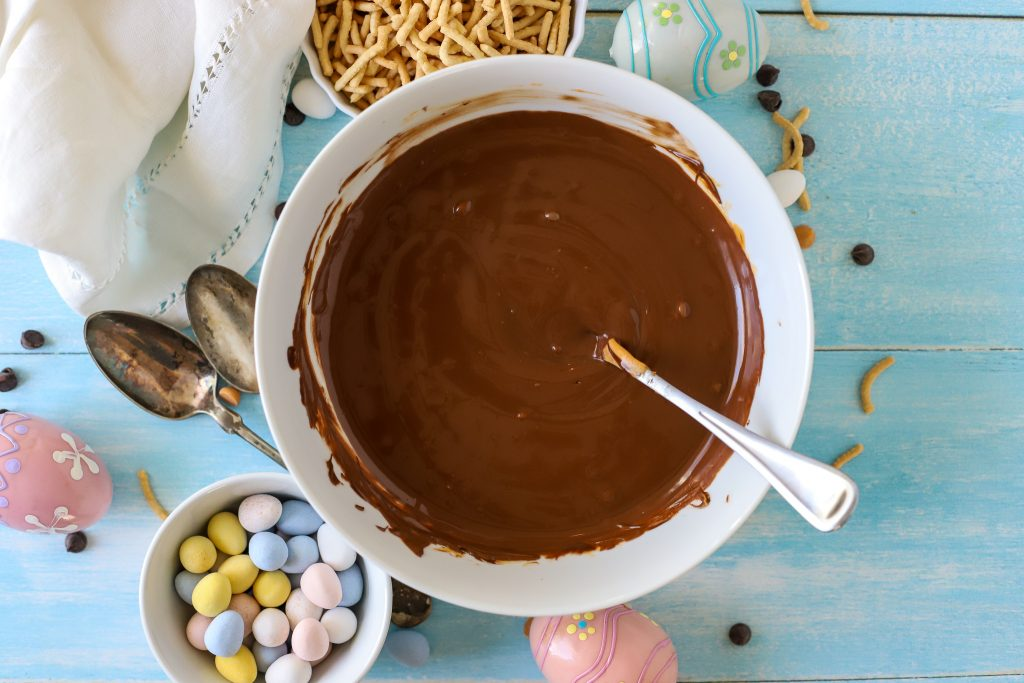 melted chocolate and butterscotch in a bowl