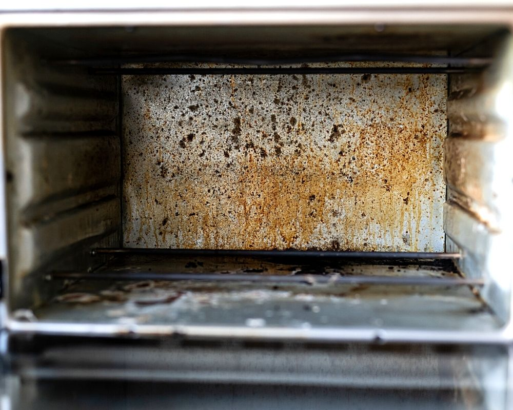 inside of a dirty oven
