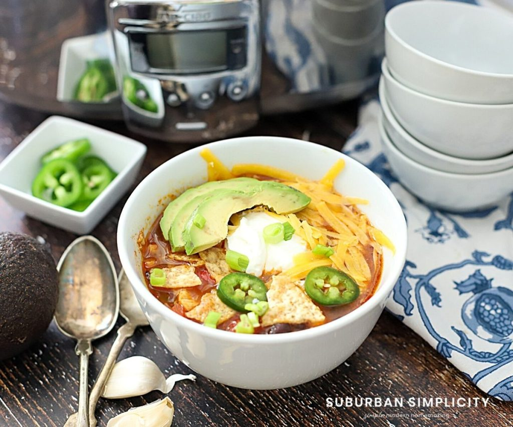 Crockpot Enchilada Soup in a bowl