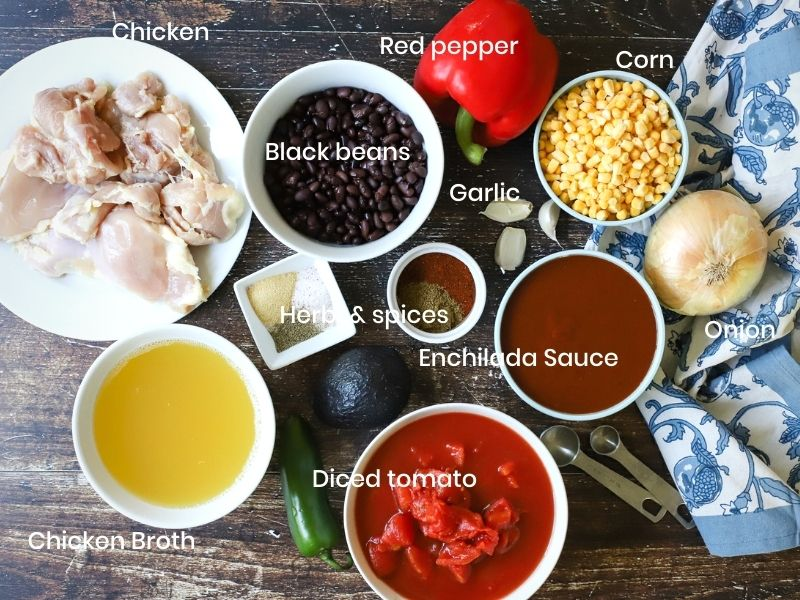 ingredients for chicken enchilada soup