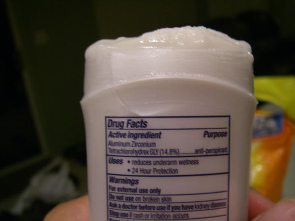 Hmmm...Aluminum Zirconium Tetrachlorahydrex GLY makes up 14.8% of my old anti-perspirant.