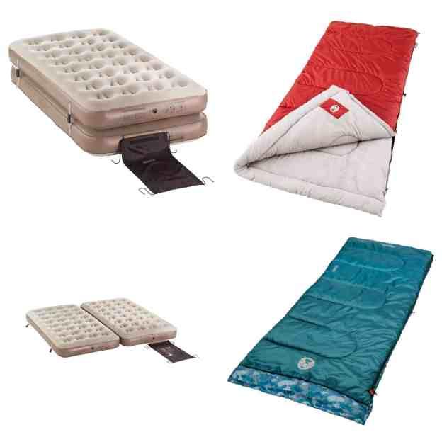 Family Camping Sleeping Bags and Air Mattresses