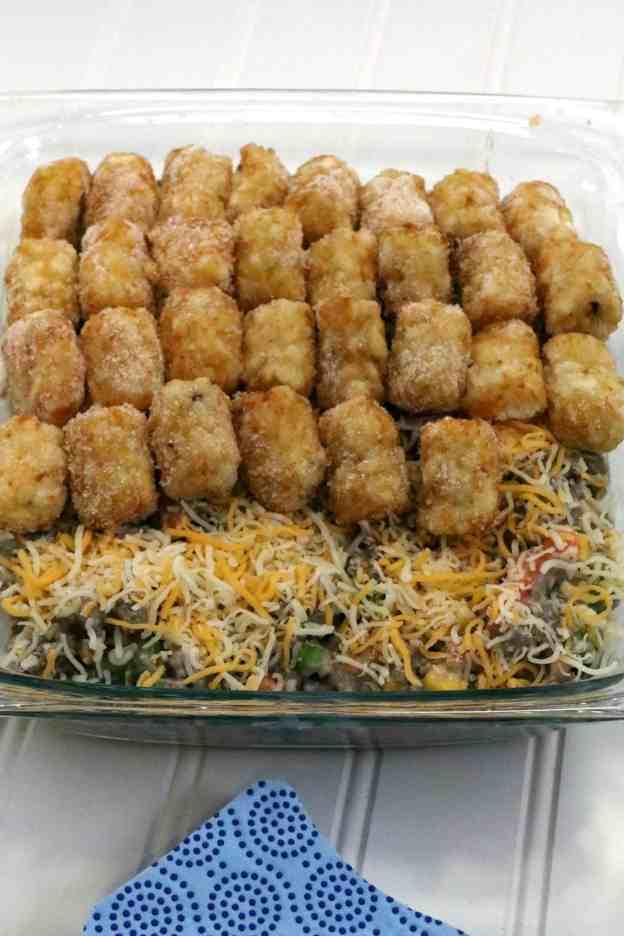 Tater Tot Hot Dish cheese and tots