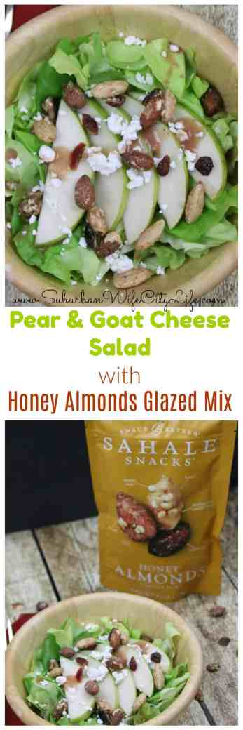 Pear & Goat Cheese Salad with Honey Almonds Glazed Mix