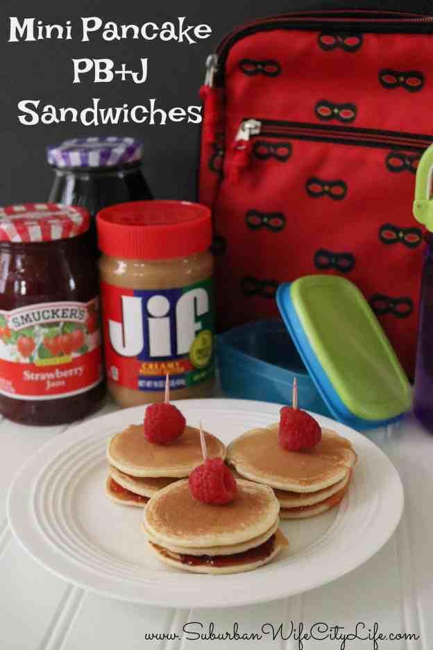 Mini Pancake PB+J Sandwiches