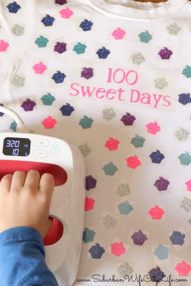 100 sweet days shirt with Cricut EasyPress2