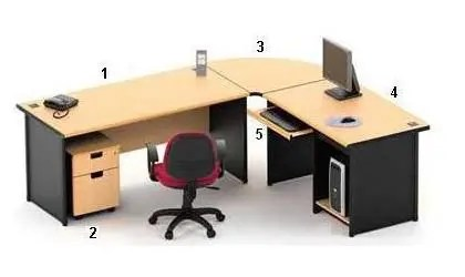 HighPoint Set Meja Kantor One Series Beech Workstation 1