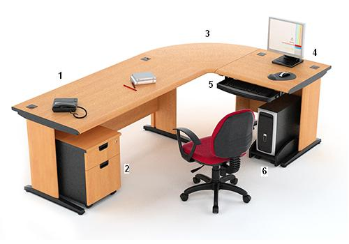 HighPoint Set Meja Kantor Five Series Cherry Workstation 3