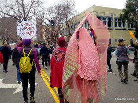 elaborate vagina costume, Women's March Oakland 2017, from the back