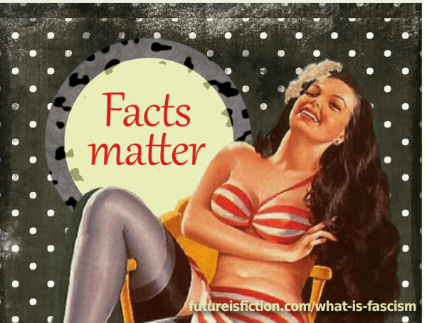 """Illustrated retro woman and the prase """"facts matter"""""""