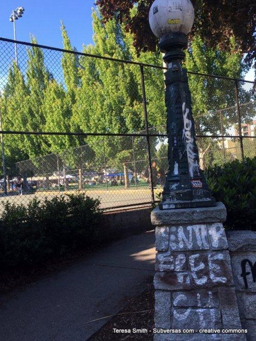 graffiti marking one entrance to capital hill autonomous zone