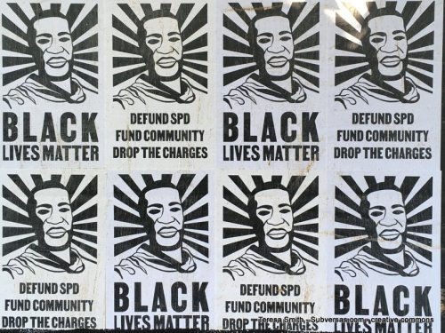BLM posters up at capital hill autonomous zone
